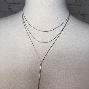 Three Strand Necklace Adjustable Silver H&M